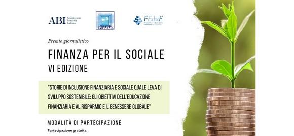 """Premio giornalistico """"Finanza per il sociale"""": elaborati entro l'11 settembre 2021"""